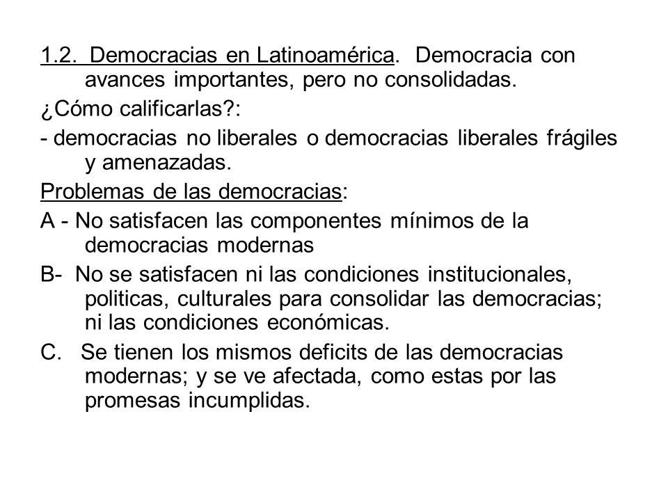 1.2. Democracias en Latinoamérica. Democracia con avances importantes, pero no consolidadas. ¿Cómo calificarlas?: - democracias no liberales o democra