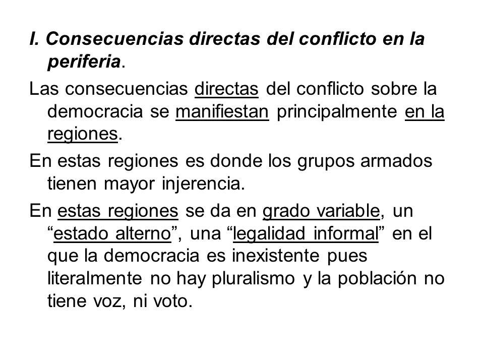 I. Consecuencias directas del conflicto en la periferia. Las consecuencias directas del conflicto sobre la democracia se manifiestan principalmente en