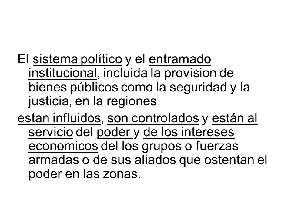 El sistema político y el entramado institucional, incluida la provision de bienes públicos como la seguridad y la justicia, en la regiones estan influ