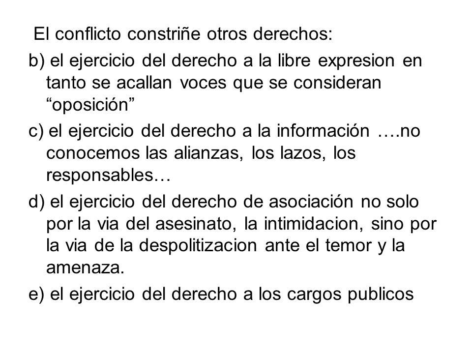 El conflicto constriñe otros derechos: b) el ejercicio del derecho a la libre expresion en tanto se acallan voces que se consideran oposición c) el ej