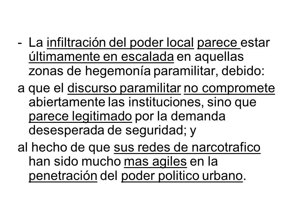 -La infiltración del poder local parece estar últimamente en escalada en aquellas zonas de hegemonía paramilitar, debido: a que el discurso paramilita