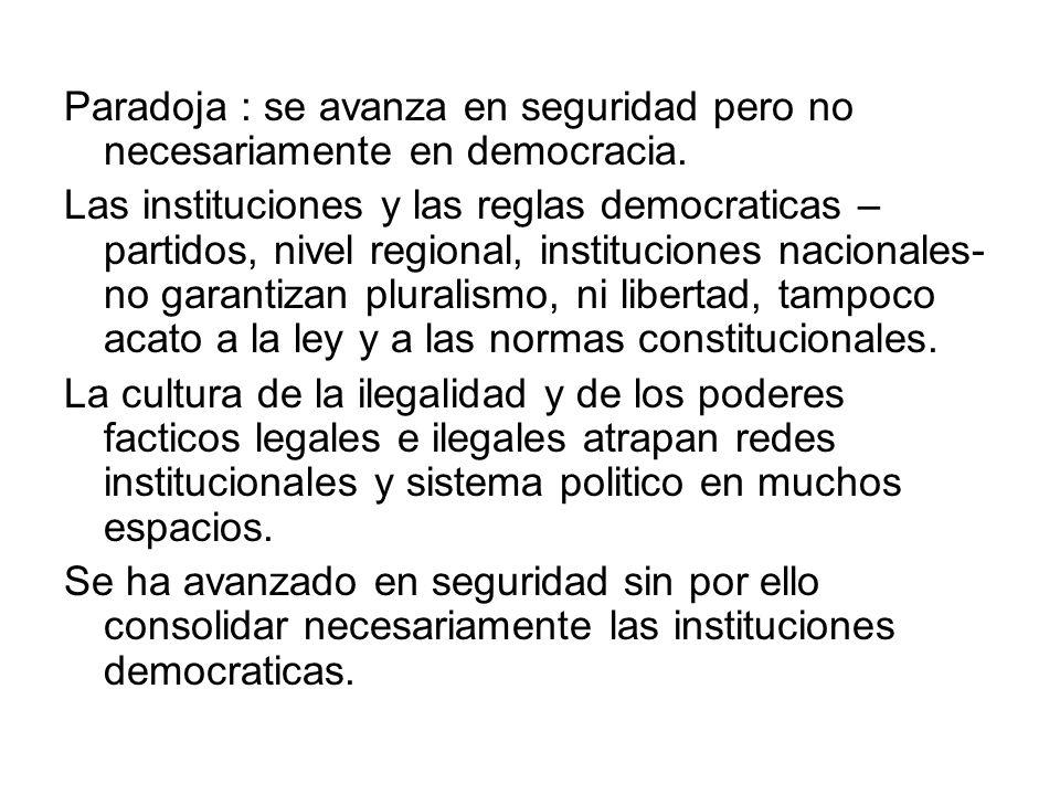 Paradoja : se avanza en seguridad pero no necesariamente en democracia. Las instituciones y las reglas democraticas – partidos, nivel regional, instit