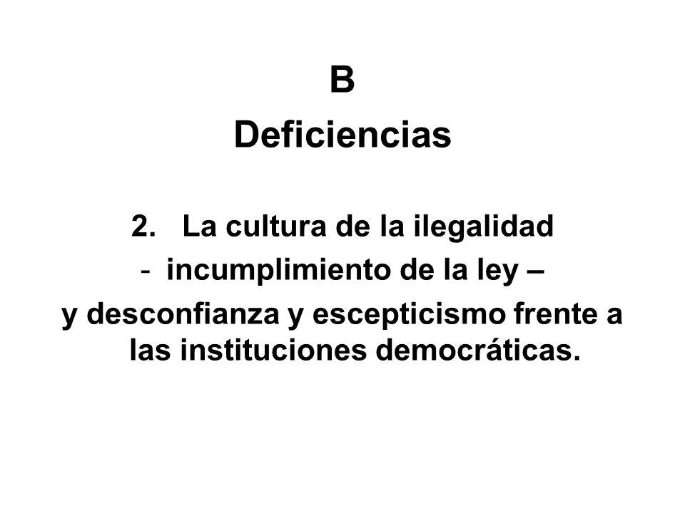 B Deficiencias 2. La cultura de la ilegalidad -incumplimiento de la ley – y desconfianza y escepticismo frente a las instituciones democráticas.