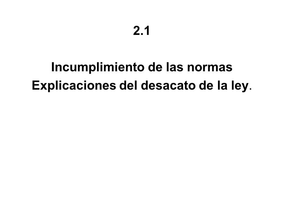 2.1 Incumplimiento de las normas Explicaciones del desacato de la ley.