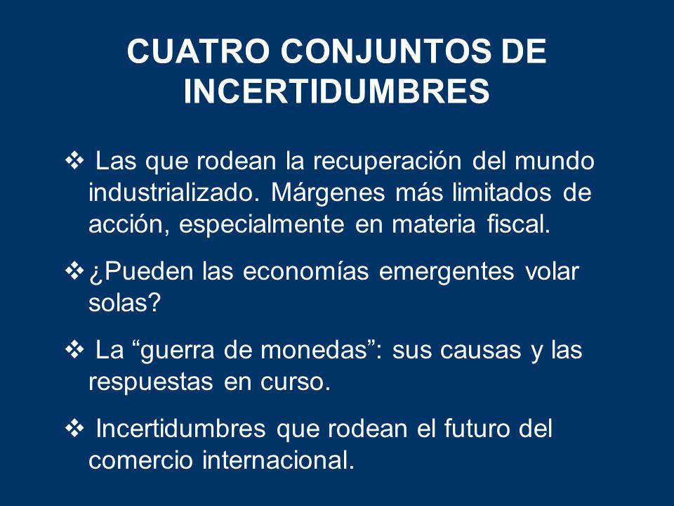 CUATRO CONJUNTOS DE INCERTIDUMBRES Las que rodean la recuperación del mundo industrializado.
