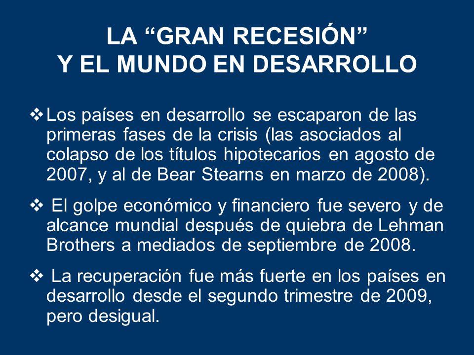 LA GRAN RECESIÓN Y EL MUNDO EN DESARROLLO Los países en desarrollo se escaparon de las primeras fases de la crisis (las asociados al colapso de los títulos hipotecarios en agosto de 2007, y al de Bear Stearns en marzo de 2008).