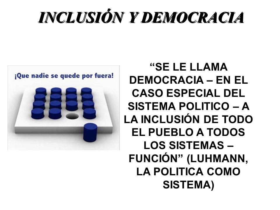 INCLUSIÓN Y DEMOCRACIA SE LE LLAMA DEMOCRACIA – EN EL CASO ESPECIAL DEL SISTEMA POLITICO – A LA INCLUSIÓN DE TODO EL PUEBLO A TODOS LOS SISTEMAS – FUN