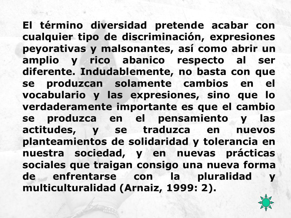 El término diversidad pretende acabar con cualquier tipo de discriminación, expresiones peyorativas y malsonantes, así como abrir un amplio y rico aba