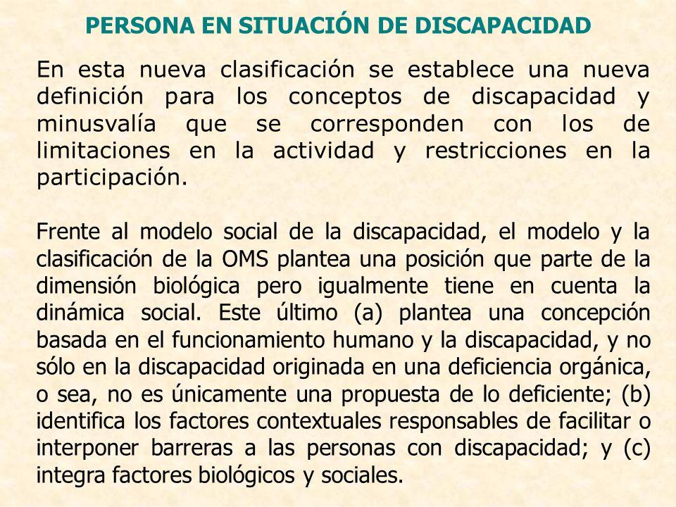 PERSONA EN SITUACIÓN DE DISCAPACIDAD En esta nueva clasificación se establece una nueva definición para los conceptos de discapacidad y minusvalía que
