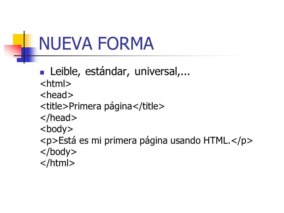 FORMATO DE UNA PÁGINA WEB BÁSICA El contenido que se va a mostrar irá aqui
