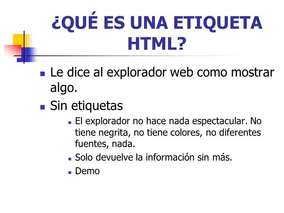 FORMATO DE UNA ETIQUETA HTML BÁSICA texto de prueba ETIQUETA DE APERTURA ETIQUETA DE CIERRE TEXTO MARCADO