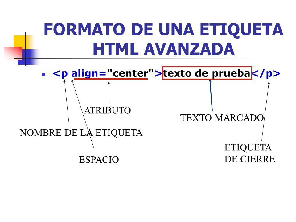 ATRIBUTOS DE ETIQUETAS HTML texto de prueba Un atributo cambia algo acerca de la etiqueta.