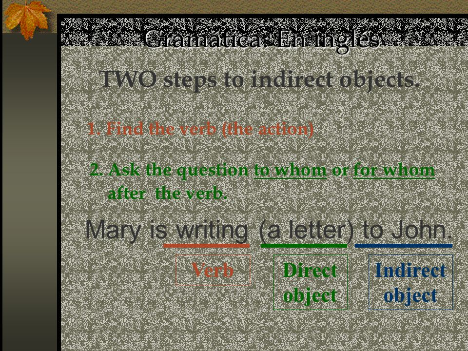 Gramática: En inglés Direct object Mary is writing (a letter) to John. Indirect object Verb TWO steps to indirect objects. 1. Find the verb (the actio