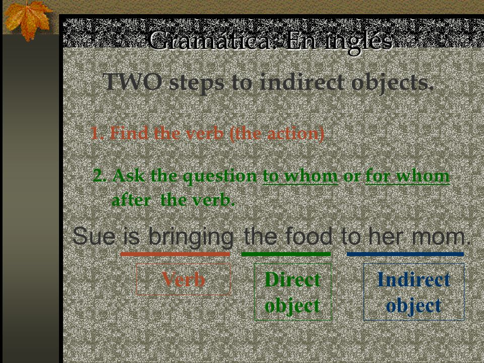 Direct object 2.Ask the question to whom or for whom after the verb.