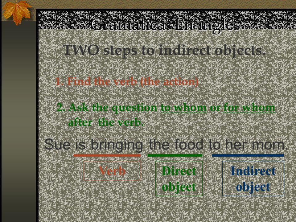 Gramática: En español Direct object María escribe (una carta) a Juan.