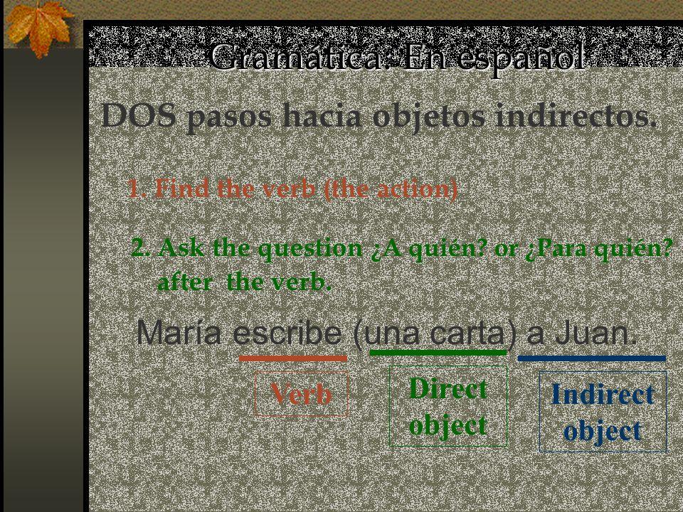 Gramática: En español Direct object María escribe (una carta) a Juan. Indirect object Verb DOS pasos hacia objetos indirectos. 1. Find the verb (the a