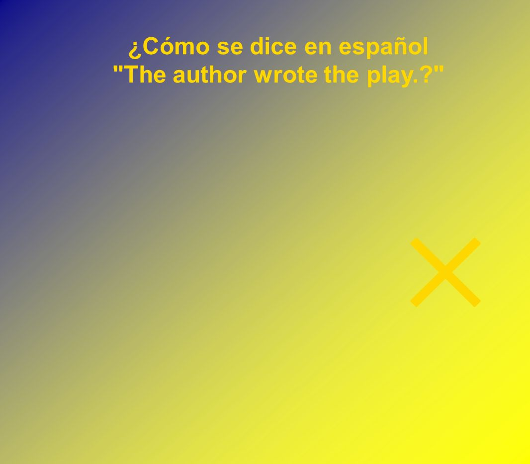 ¿Cómo se dice en español The author wrote the play.?