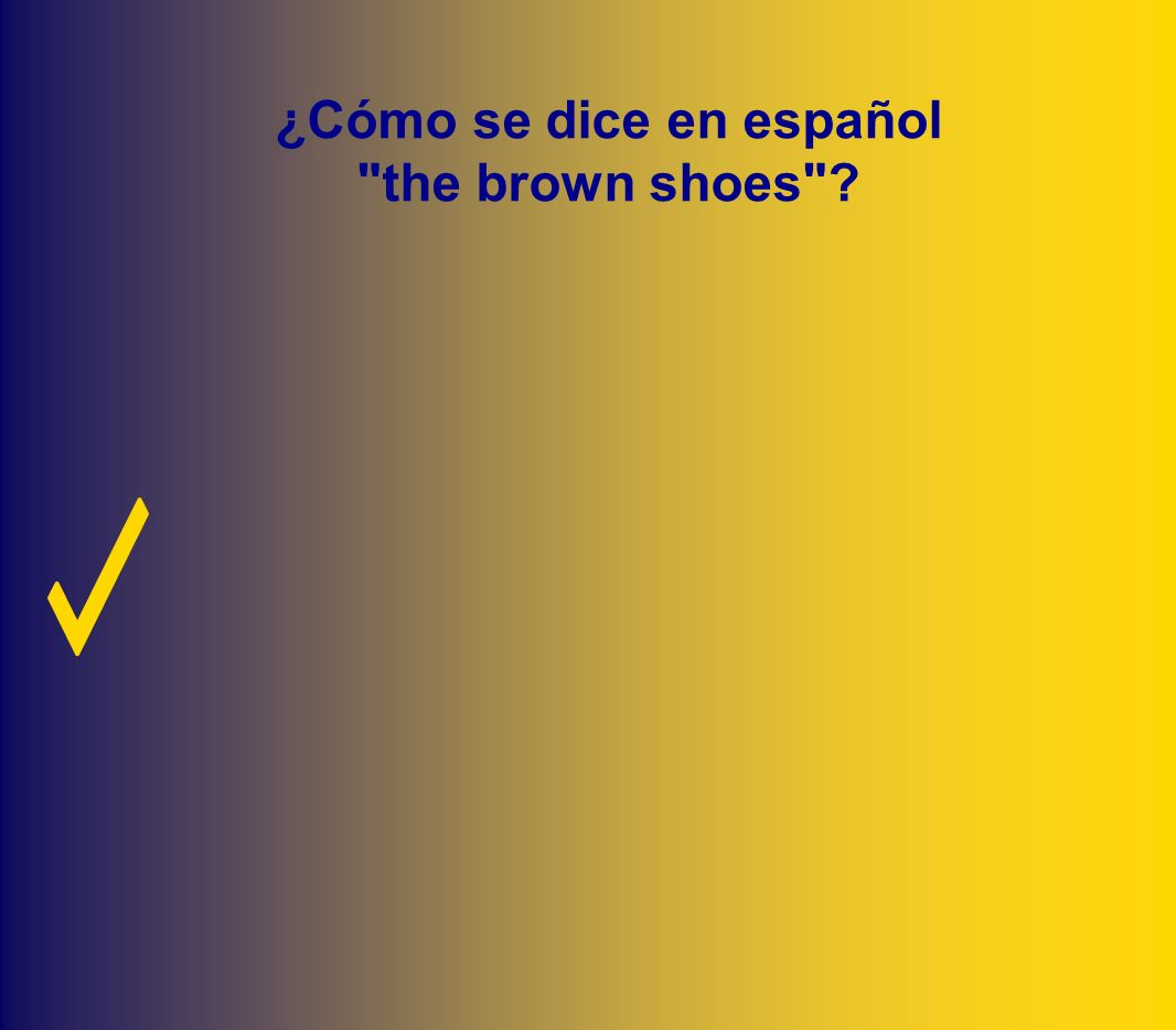 ¿Cómo se dice en español the brown shoes
