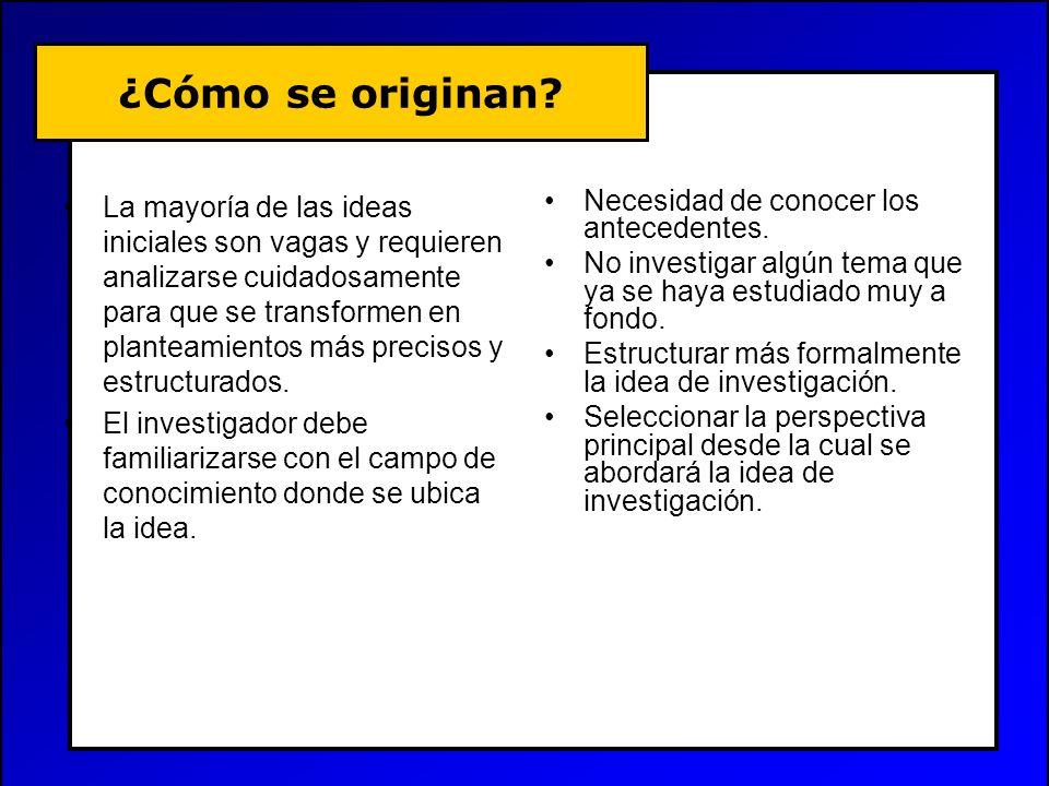 ¿Cómo se originan? La mayoría de las ideas iniciales son vagas y requieren analizarse cuidadosamente para que se transformen en planteamientos más pre