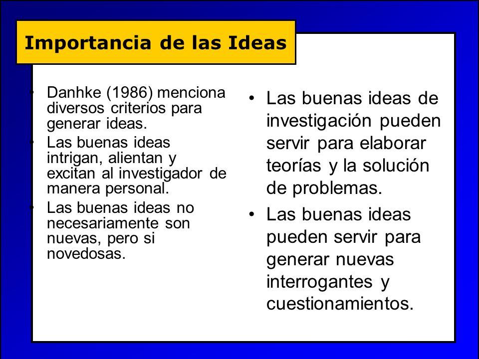 Importancia de las Ideas Danhke (1986) menciona diversos criterios para generar ideas. Las buenas ideas intrigan, alientan y excitan al investigador d