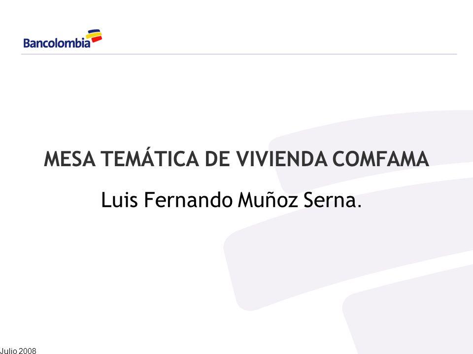 MESA TEMÁTICA DE VIVIENDA COMFAMA Luis Fernando Muñoz Serna. Julio 2008