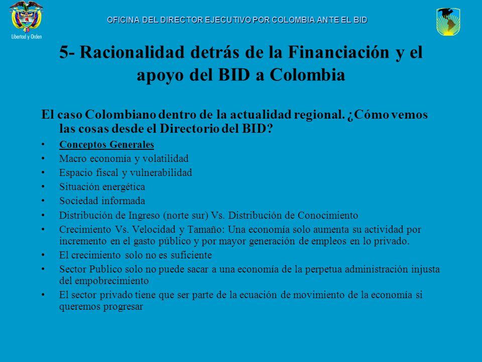 5- Racionalidad detrás de la Financiación y el apoyo del BID a Colombia El caso Colombiano dentro de la actualidad regional. ¿Cómo vemos las cosas des