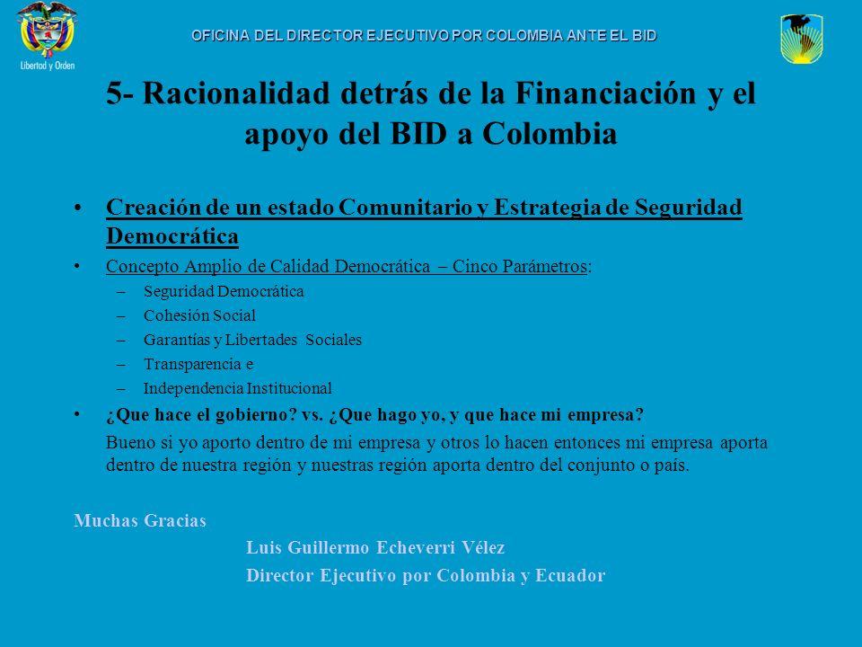 5- Racionalidad detrás de la Financiación y el apoyo del BID a Colombia Creación de un estado Comunitario y Estrategia de Seguridad Democrática Concep