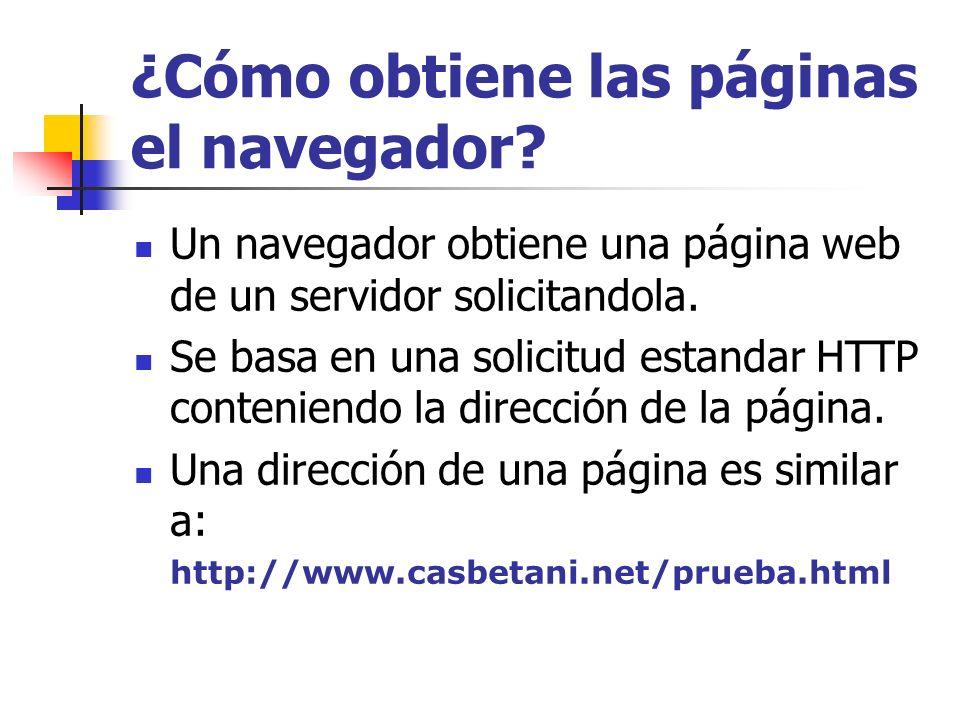 ¿Cómo obtiene las páginas el navegador? Un navegador obtiene una página web de un servidor solicitandola. Se basa en una solicitud estandar HTTP conte