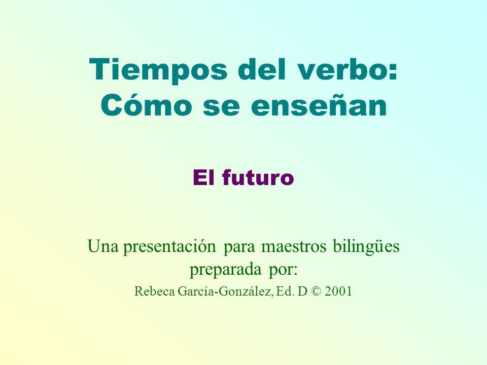 Tiempos del verbo: Cómo se enseñan Una presentación para maestros bilingües preparada por: Rebeca García-González, Ed. D © 2001 El futuro