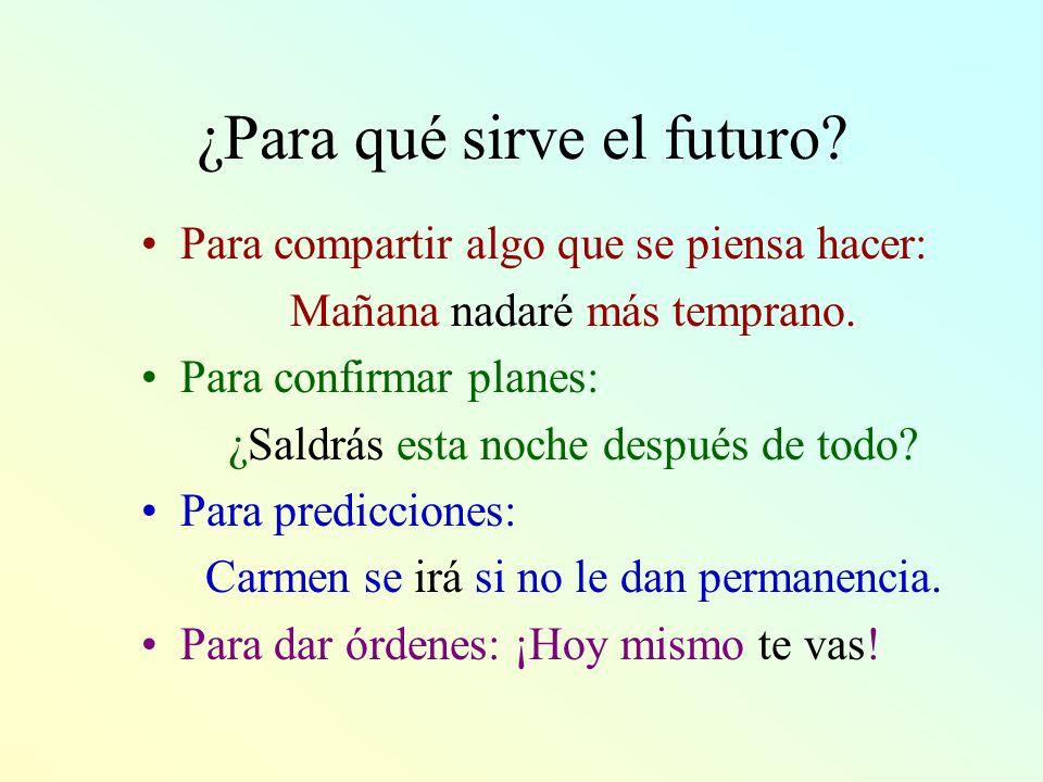 ¿Para qué sirve el futuro? Para compartir algo que se piensa hacer: Mañana nadaré más temprano. Para confirmar planes: ¿Saldrás esta noche después de