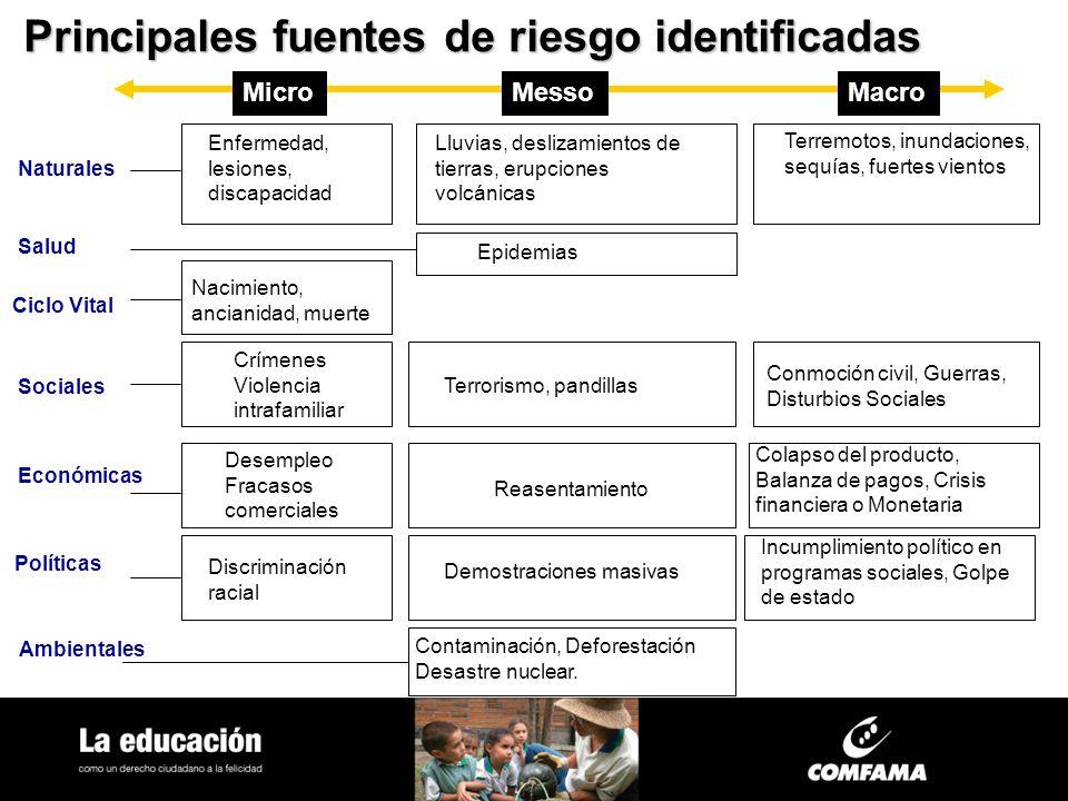 Principalesfuentes de riesgo identificadas Principales fuentes de riesgo identificadas MicroMessoMacro Naturales Enfermedad, lesiones, discapacidad Ll