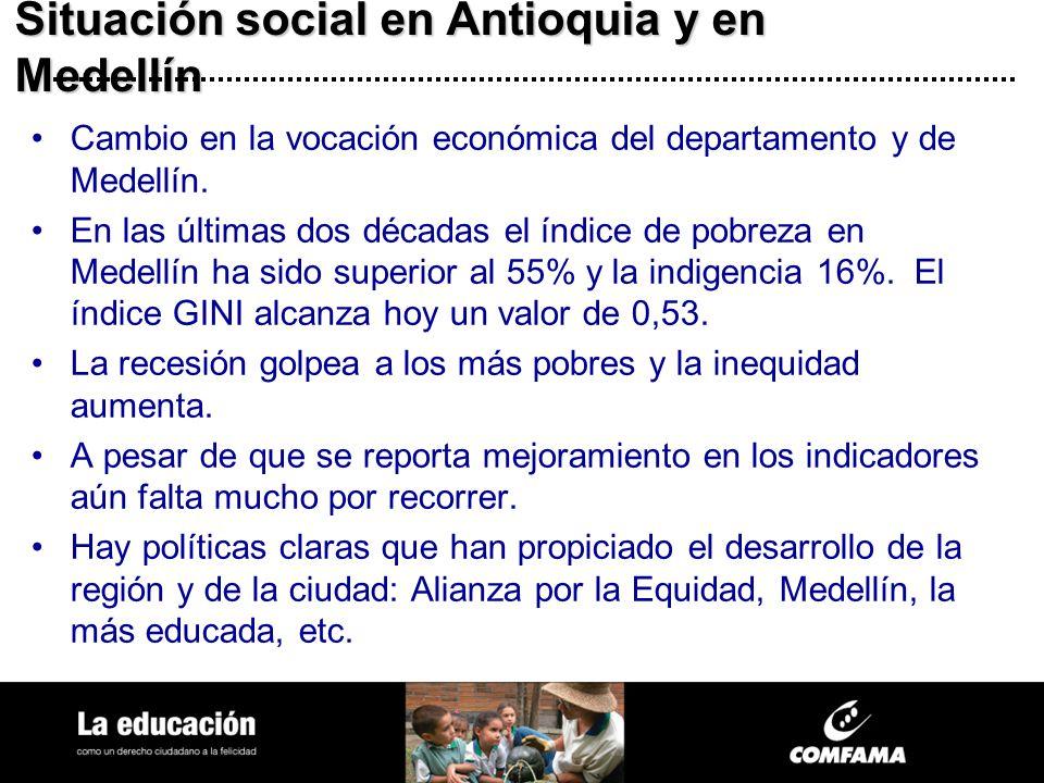 Situación social en Antioquia y en Medellín Cambio en la vocación económica del departamento y de Medellín. En las últimas dos décadas el índice de po
