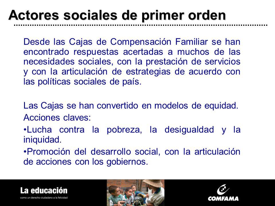 Actores sociales de primer orden Desde las Cajas de Compensación Familiar se han encontrado respuestas acertadas a muchos de las necesidades sociales,