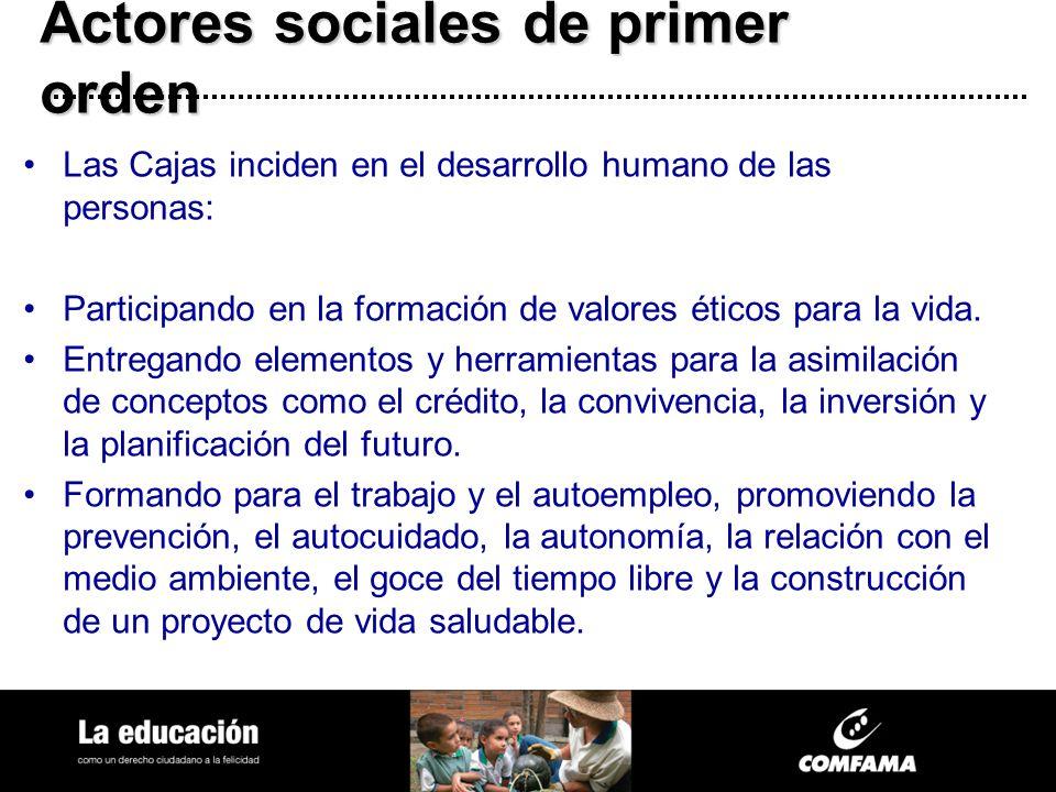 Actores sociales de primer orden Las Cajas inciden en el desarrollo humano de las personas: Participando en la formación de valores éticos para la vid