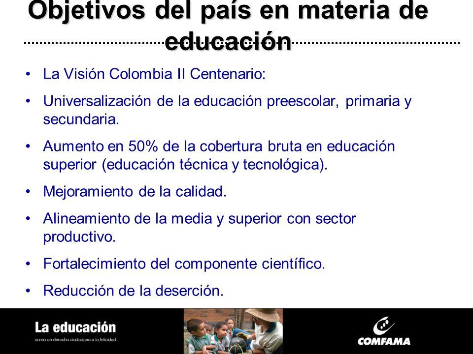 Objetivos del país en materia de educación La Visión Colombia II Centenario: Universalización de la educación preescolar, primaria y secundaria. Aumen