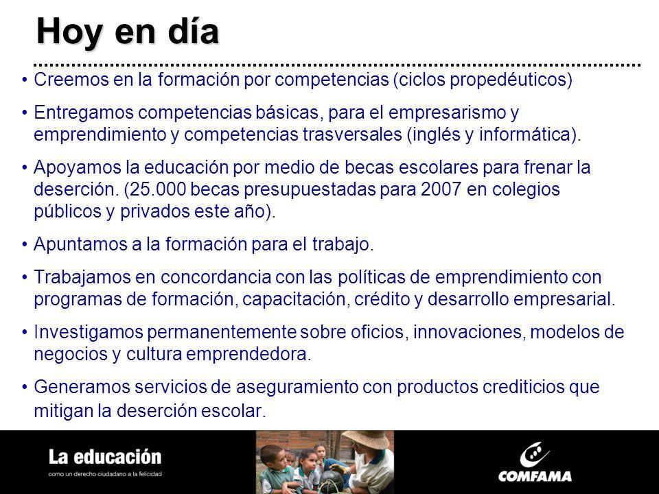 Hoy en día Creemos en la formación por competencias (ciclos propedéuticos) Entregamos competencias básicas, para el empresarismo y emprendimiento y co
