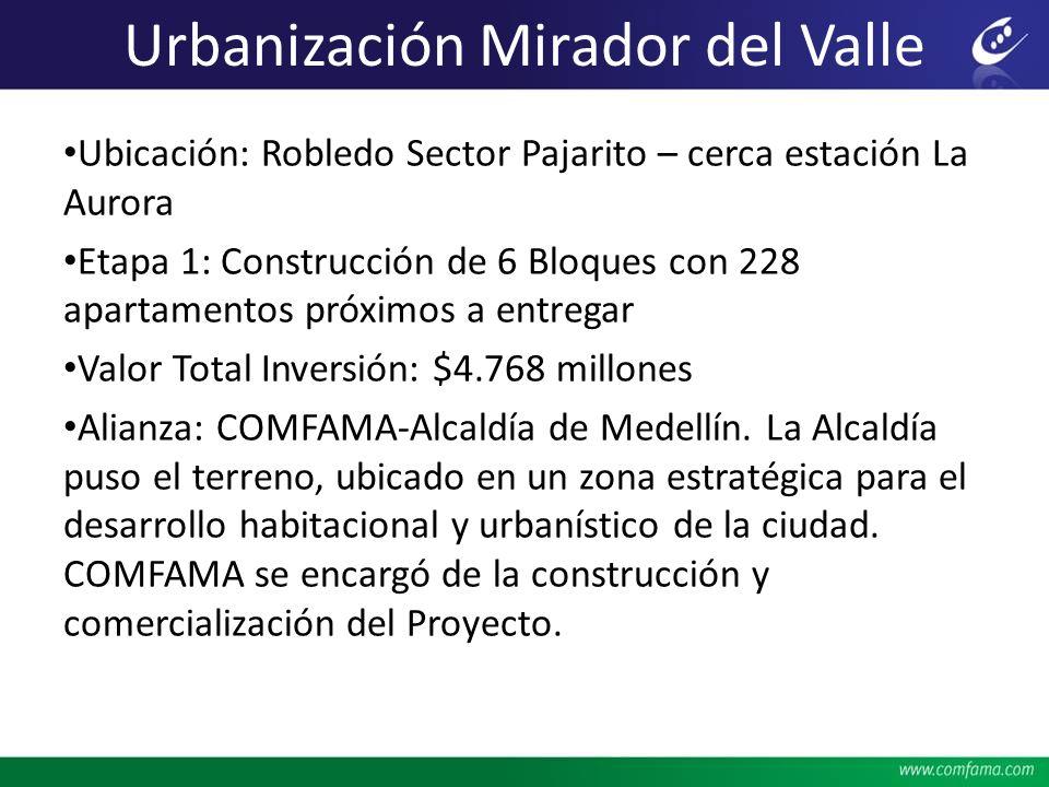 Ubicación: Robledo Sector Pajarito – cerca estación La Aurora Etapa 1: Construcción de 6 Bloques con 228 apartamentos próximos a entregar Valor Total