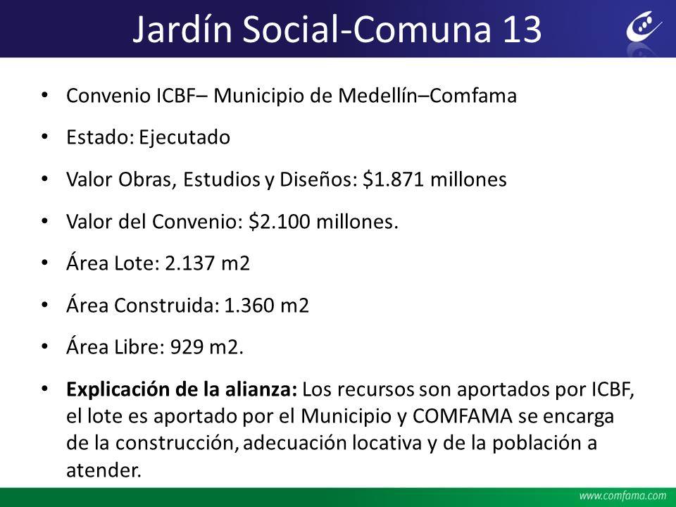 Jardín Social-Comuna 13 Convenio ICBF– Municipio de Medellín–Comfama Estado: Ejecutado Valor Obras, Estudios y Diseños: $1.871 millones Valor del Conv