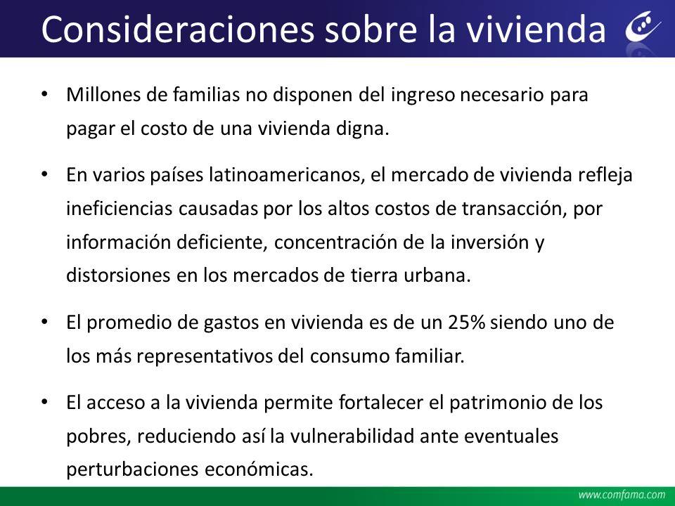 Consideraciones sobre la vivienda Millones de familias no disponen del ingreso necesario para pagar el costo de una vivienda digna. En varios países l