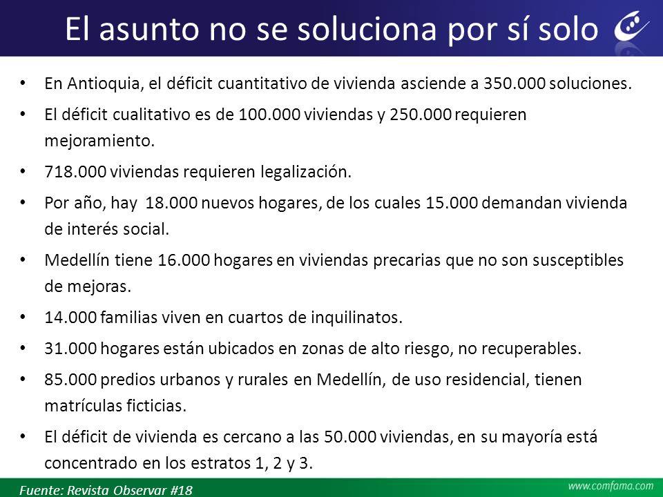 El asunto no se soluciona por sí solo En Antioquia, el déficit cuantitativo de vivienda asciende a 350.000 soluciones. El déficit cualitativo es de 10
