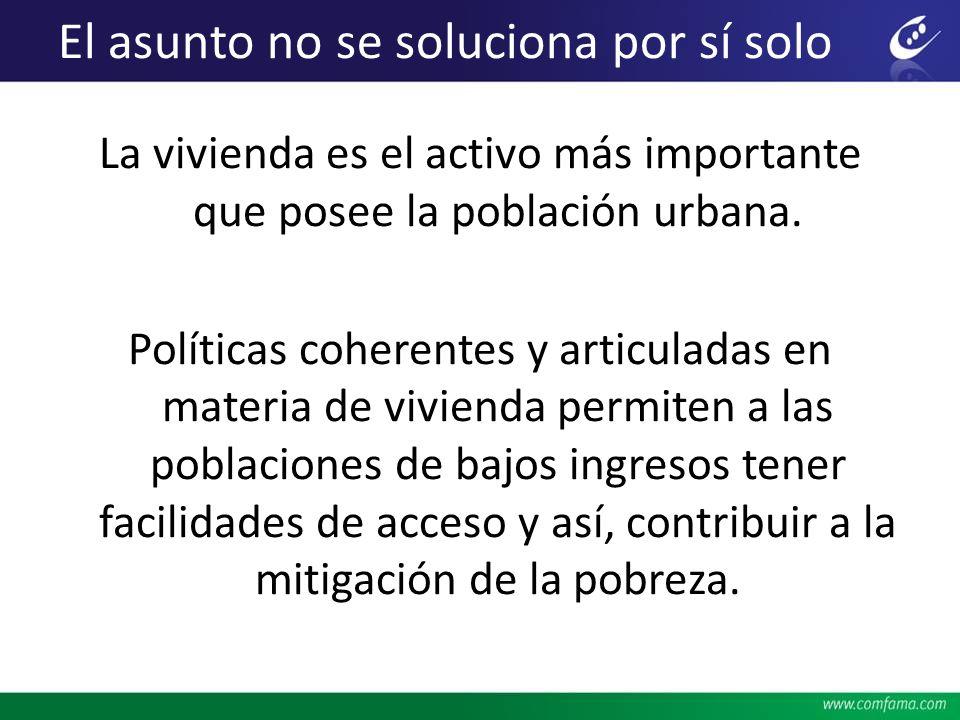 El asunto no se soluciona por sí solo La vivienda es el activo más importante que posee la población urbana. Políticas coherentes y articuladas en mat