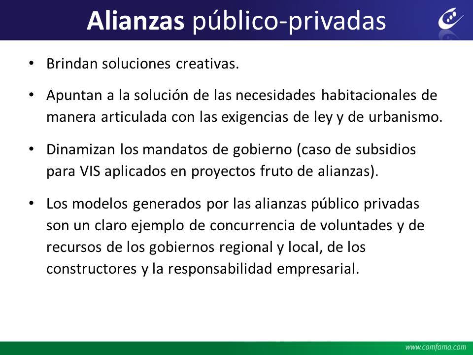 Alianzas público-privadas Brindan soluciones creativas. Apuntan a la solución de las necesidades habitacionales de manera articulada con las exigencia