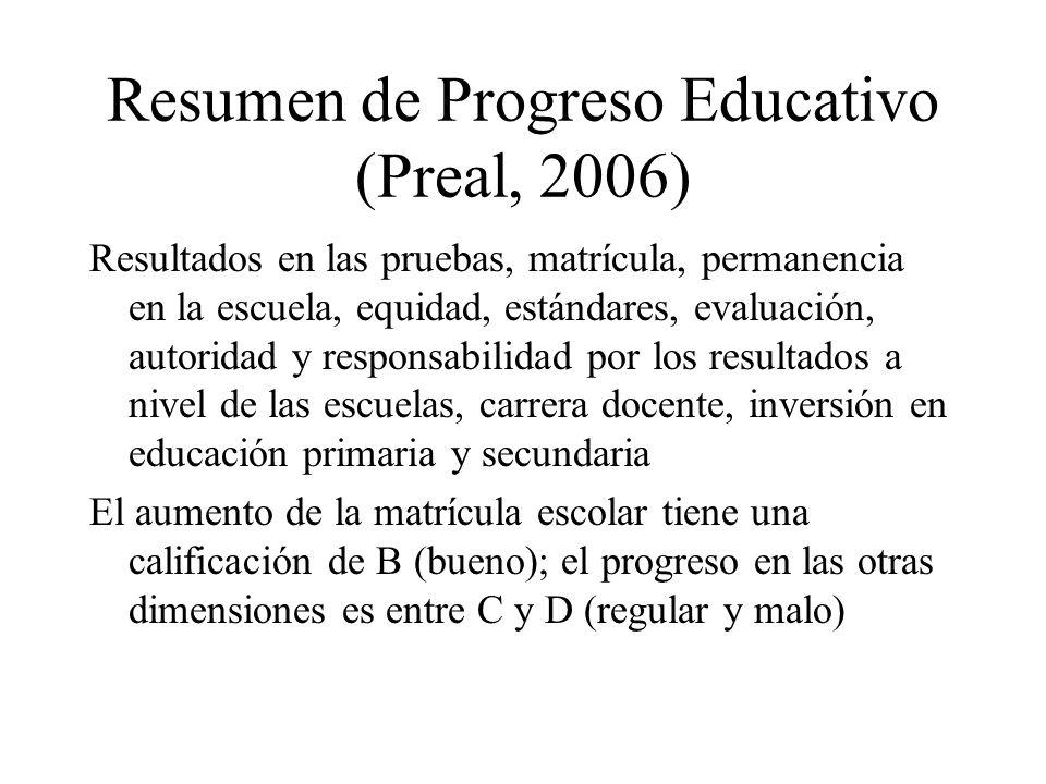 Resumen de Progreso Educativo (Preal, 2006) Resultados en las pruebas, matrícula, permanencia en la escuela, equidad, estándares, evaluación, autorida