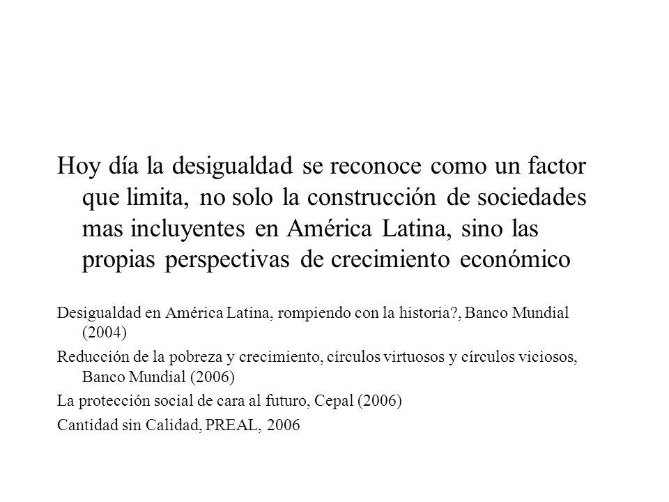 Hoy día la desigualdad se reconoce como un factor que limita, no solo la construcción de sociedades mas incluyentes en América Latina, sino las propia