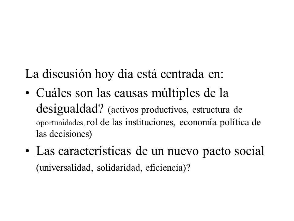 La discusión hoy dia está centrada en: Cuáles son las causas múltiples de la desigualdad? (activos productivos, estructura de oportunidades, rol de la