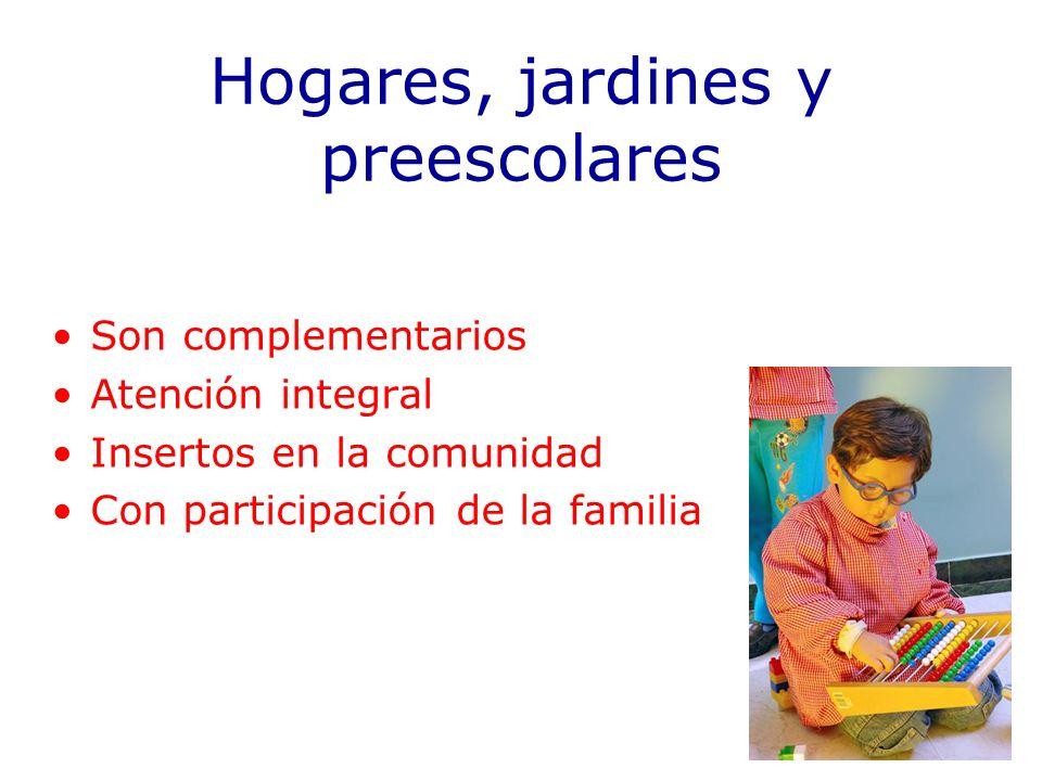 Hogares, jardines y preescolares Son complementarios Atención integral Insertos en la comunidad Con participación de la familia