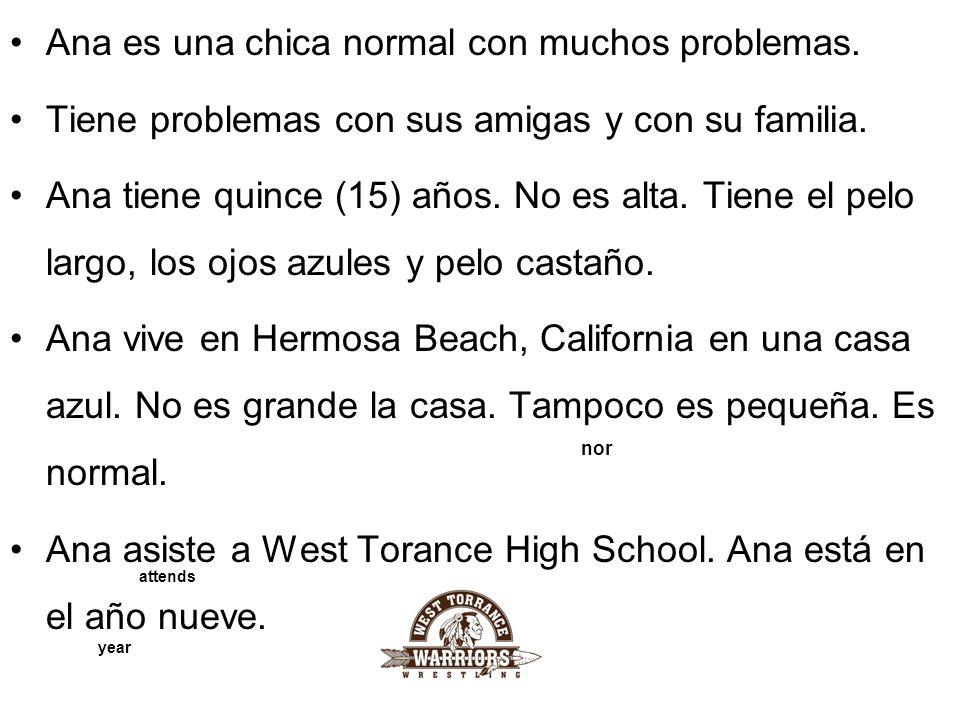 Ana es una chica normal con muchos problemas.Tiene problemas con sus amigas y con su familia.