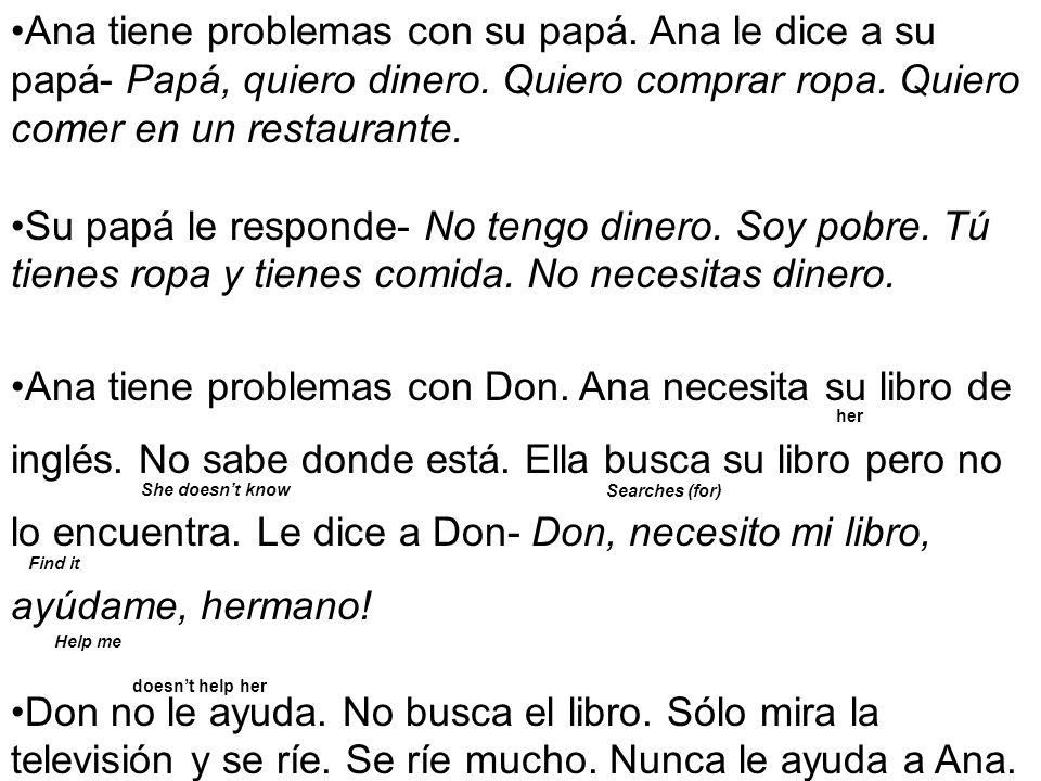 Ana tiene problemas con su papá.Ana le dice a su papá- Papá, quiero dinero.