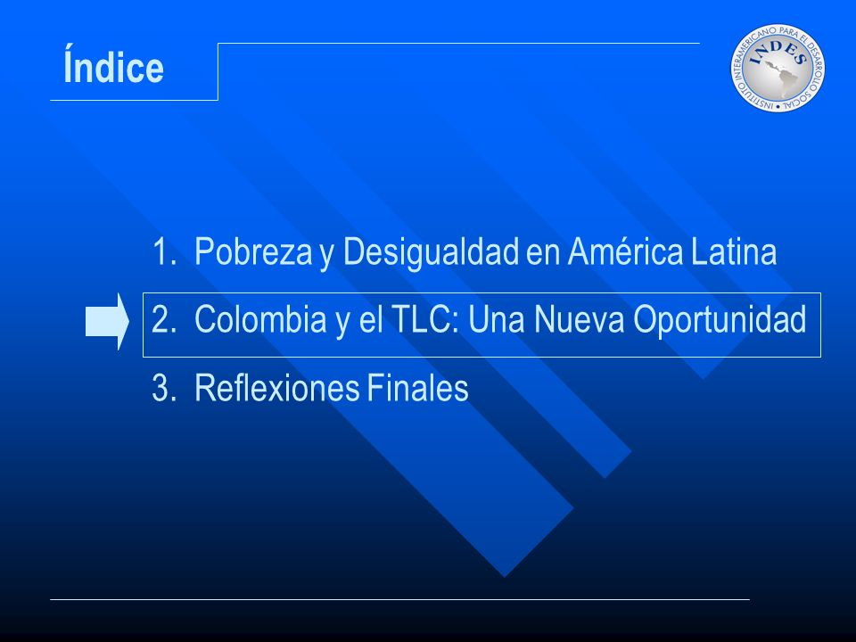 Índice 1.Pobreza y Desigualdad en América Latina 2.Colombia y el TLC: Una Nueva Oportunidad 3.Reflexiones Finales