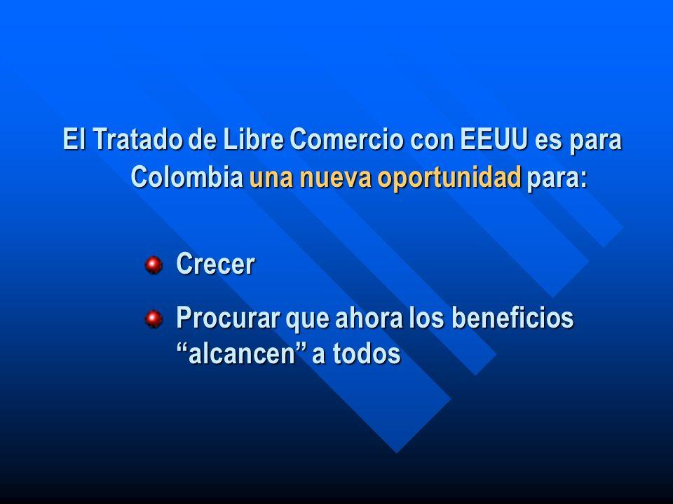 El Tratado de Libre Comercio con EEUU es para Colombia una nueva oportunidad para: Crecer Procurar que ahora los beneficios alcancen a todos